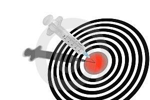 Syringe In A Dartboard Stock Images - Image: 9001854