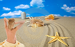 Landscape With Seashell And Stones On Sky Stock Photo - Image: 9003750