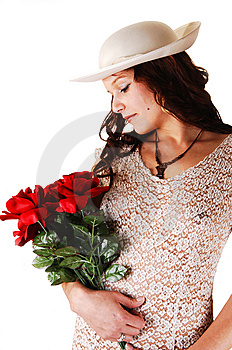 Woman With Hat And Red Roses. Royalty Free Stock Photo - Image: 9004965