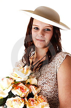 Woman With Hat And Roses. Stock Images - Image: 9004974