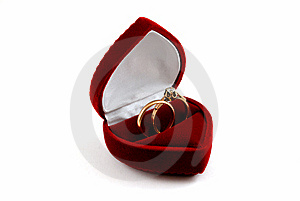 Wedding Rings In Fancy Box (on White) Stock Image - Image: 9005811