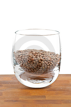 Pardina Lentils In Glass On Wooden Table Royalty Free Stock Image - Image: 9009796