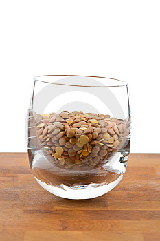 Lentils In Glass On Wooden Table Royalty Free Stock Images - Image: 9009799