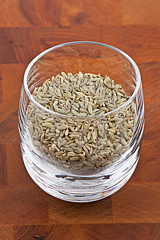 Dried Fennel Seeds In Glass Royalty Free Stock Image - Image: 9009836