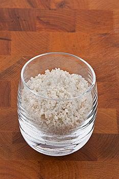 Coarse Grey Sea Salt In Glass Stock Photos - Image: 9009953