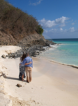Couple Standing On Frys Beach In Antigua Barbuda Royalty Free Stock Images - Image: 9011159