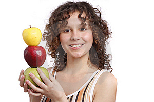 Girl With Apples. Stock Photo - Image: 9011280
