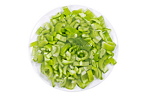 Green Pepper On A Plate Stock Images - Image: 9013834