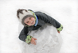 The Girl With The Big Snow Sphere Stock Images - Image: 9015334