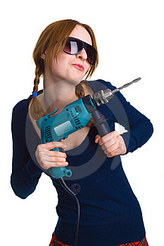 Girl With A Drill Royalty Free Stock Images - Image: 9016249