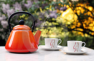 Teapot With Two Cups Outside Royalty Free Stock Image - Image: 9016686