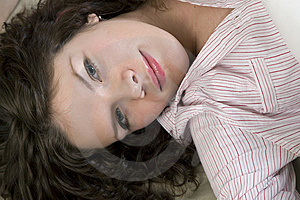 Attractive Thoughtful Brunette Curl Woman Stock Photography - Image: 9016912