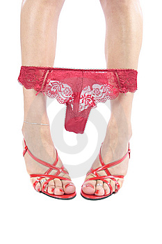Sexy Legs And Shoes With Red Underwear Over White Royalty Free Stock Photography - Image: 9022257