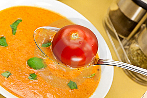 Soup From Beet And Tomato  With Sour Cream, View F Stock Photography - Image: 9023042