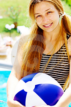 Happy Beautiful Woman With Ball On Holiday Royalty Free Stock Images - Image: 9023489