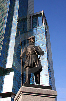 Monument To Guardsman On Background Of Skycrapper Stock Photography - Image: 9027932