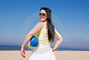 Beautiful Woman Playing Volleyball At The Beach Stock Image - Image: 9028571