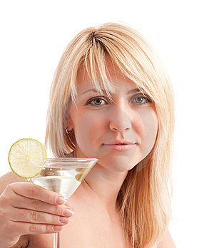 Girl Hold Glass With Martini Cocktail Stock Photos - Image: 9028933