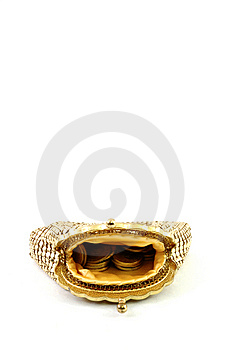 Open Golden Wallet Royalty Free Stock Image - Image: 9030846