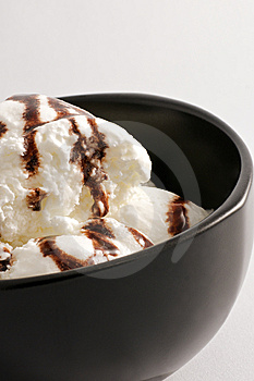 Vanilla ice cream in a black bowl