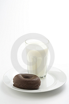 Breakfast Glass Of Chocolate Milk And Donut Royalty Free Stock Photos - Image: 9037198