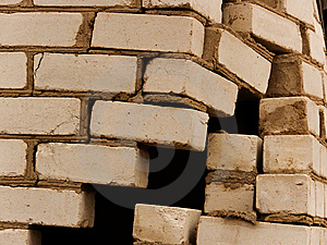 Destruction Of A Wall Of The House From A Brick Stock Image - Image: 9039771