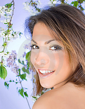Beautiful Woman With Cherry Blossom Royalty Free Stock Images - Image: 9039869
