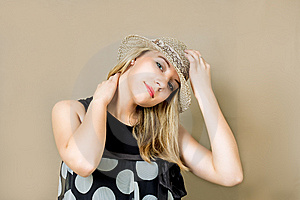 Blonde In Straw Hat Smiling Stock Photography - Image: 9040832