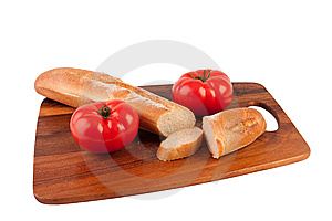 Two Tomatoes And Slices Of Baguette Royalty Free Stock Photography - Image: 9041557