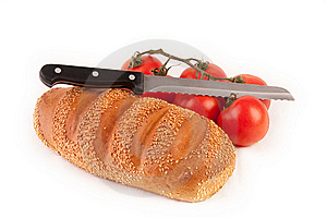 Bread, Knife And Bunch Of Tomatoes Stock Photo - Image: 9041600