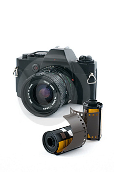 Analogue Camera With Film Rolls Royalty Free Stock Photography - Image: 9045177
