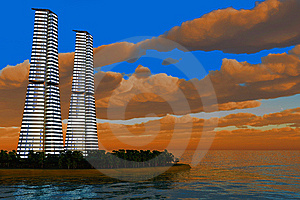 Skyscraper On Island Royalty Free Stock Photos - Image: 9045518