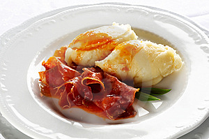 Baked Prosciutto With Potato Puree Royalty Free Stock Photography - Image: 9046747