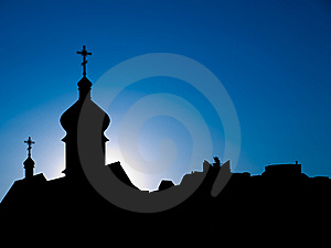 Dark Cities Silhouettes Against Blue Skies Royalty Free Stock Photography - Image: 9047047