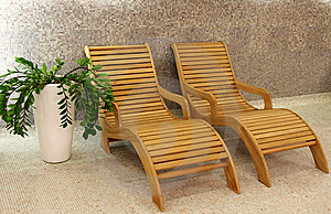 Two Sunbeds With Plant Stock Photography - Image: 9047842