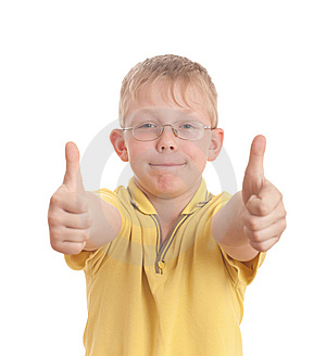 Teenager Show Thumb Up Sign On Two Hands Stock Image - Image: 9050201