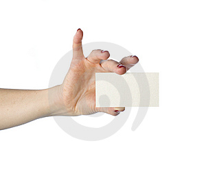 Hand With White Card Business Stock Photos - Image: 9050593