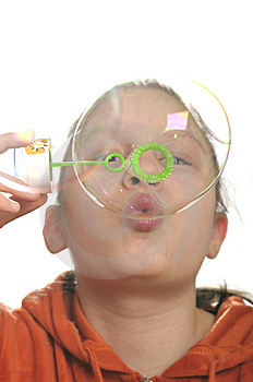Girl Playing With Bubbles Stock Photo - Image: 9050860