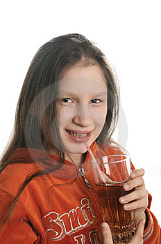 Reading Girl With Glass Of Juice Royalty Free Stock Photos - Image: 9050868