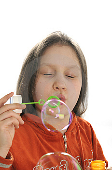 Girl Playing With Bubbles Royalty Free Stock Photography - Image: 9050887