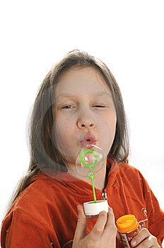 Girl Playing With Bubbles Stock Photography - Image: 9050942