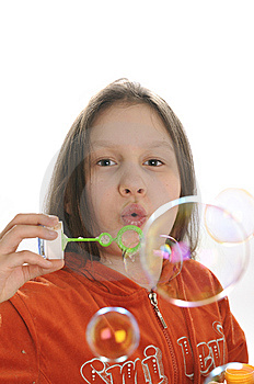 Girl Playing With Bubbles Royalty Free Stock Image - Image: 9050966