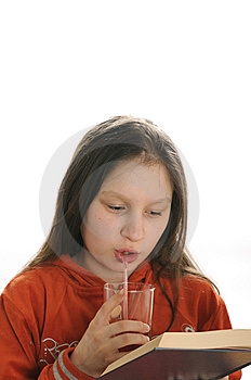 Reading Girl With Glass Of Juice Stock Image - Image: 9050991