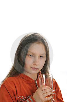 Reading Girl With Glass Of Juice Royalty Free Stock Photography - Image: 9051007