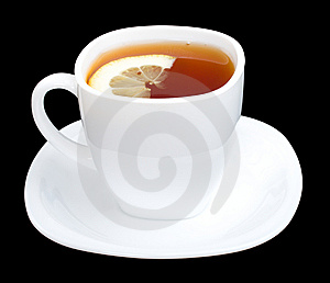 Cup Of Tea With Lemon And Saucer On Black Royalty Free Stock Image - Image: 9051676