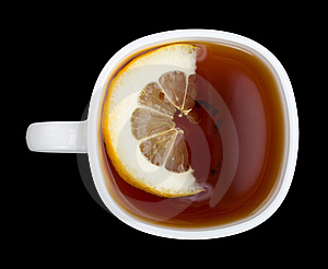 Cup Of Tea With Lemon On Black View From Above Royalty Free Stock Photography - Image: 9051697