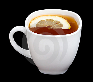 Cup Of Tea With Lemon On Black Stock Images - Image: 9051704