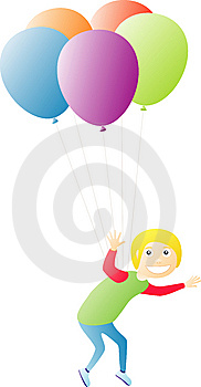 Boy Flying On Balloons Stock Photo - Image: 9053030