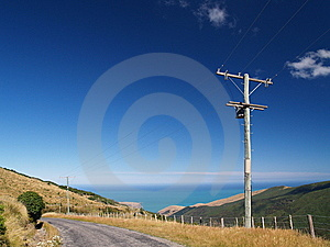 Powerlines In Banks Peninsula Stock Image - Image: 9053701