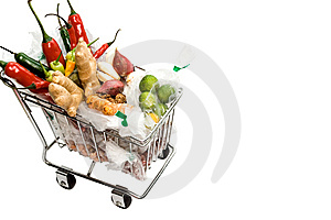 Seasoning Ingredients On A Shopping Cart Stock Photography - Image: 9054002